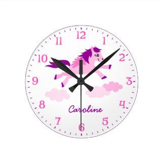 Reloj de pared rosado blanco de los chicas de Pega