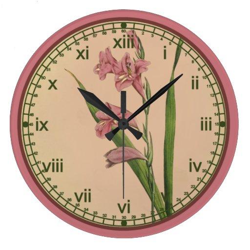 Reloj de pared rosado botánico del lirio de Curtis