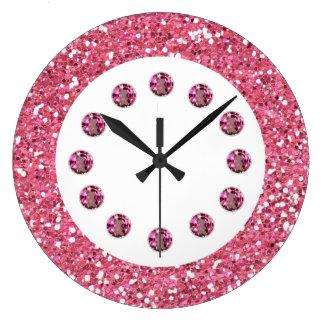 Reloj de pared rosado de Bling de la joya