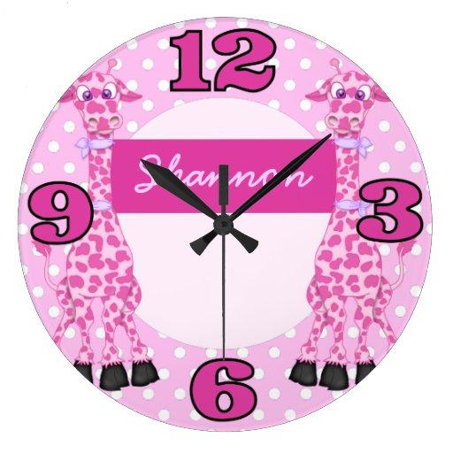 Reloj de pared rosado de encargo de los niños de l