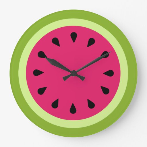 Reloj de pared rosado de la rebanada de la sandía