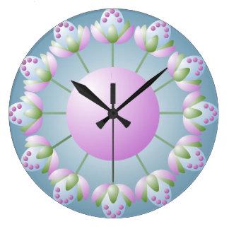 Reloj de pared rosado de los brotes de flor del ve