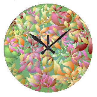 Reloj de pared rosado de los pétalos de la flor de
