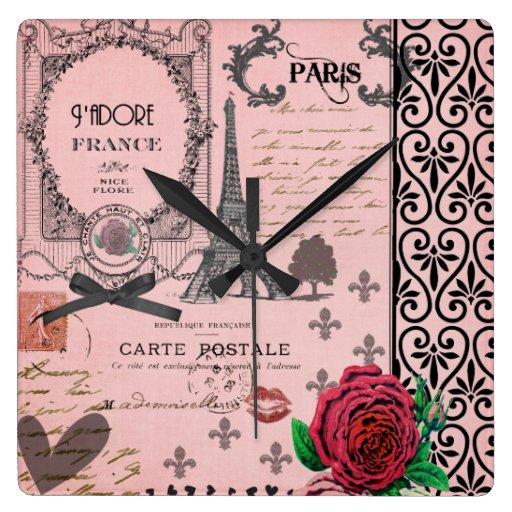 Reloj de pared rosado del collage de París del vin