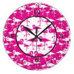 Reloj de pared rosado del flamenco