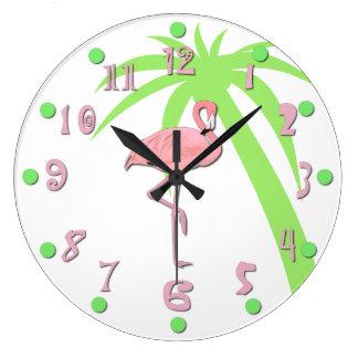 Reloj de pared rosado del flamenco de la diversión