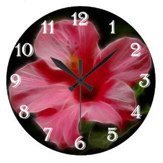 Reloj de pared rosado del hibisco