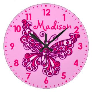 Reloj de pared rosado del nombre del sitio de los