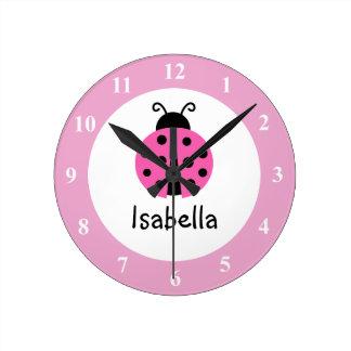 Reloj de pared rosado del sitio del cuarto de