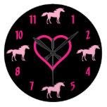 Reloj de pared rosado del unicornio