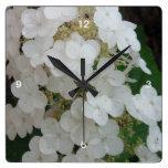 Reloj de pared salvaje del Hydrangea de la hoja de