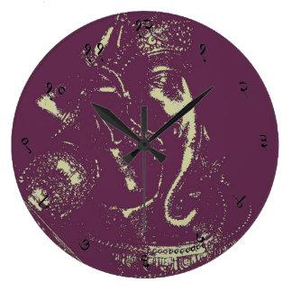 Reloj de pared sánscrito (púrpura) de Ganesha