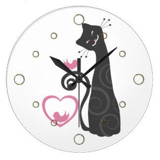 Reloj de pared sonriente moderno del gato