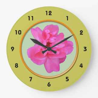 Reloj de pared subió de la flor del rosa salvaje