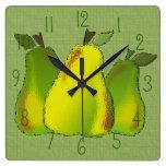 Reloj de pared (tejado) de cristal de las peras