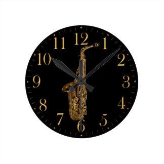 Reloj de pared temático de la música del saxofón