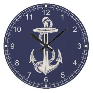 Reloj de pared temático náutico del ancla