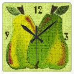Reloj de pared texturizado de las peras (cal)