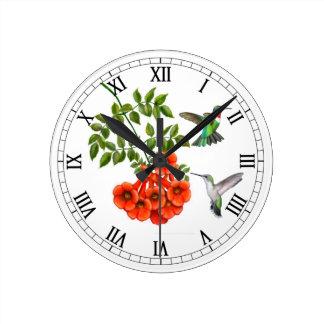 Reloj de pared Throated de rubíes de los colibríes