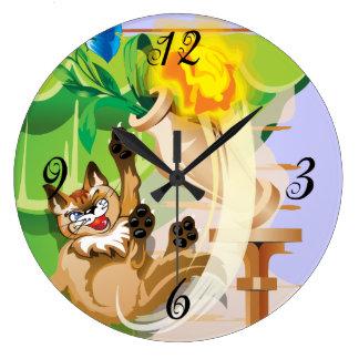 Reloj de pared travieso del gatito