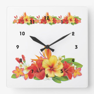 Reloj de pared tropical del hibisco