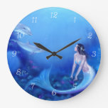 Reloj de pared ultramarino del arte de la sirena