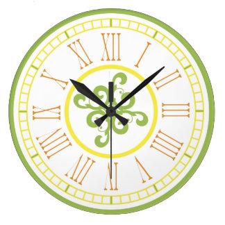 Reloj de pared - verde, amarillo y naranja