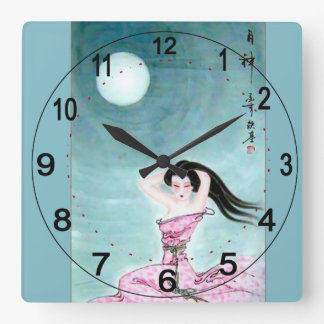 Reloj de pared verde con adorno del chino del vint