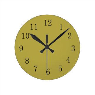 Reloj de pared verde de cobre amarillo