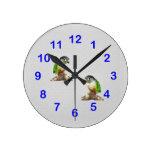 Reloj de pared verde de Conure de la mejilla