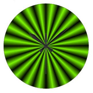 Reloj de pared verde de la ilusión óptica del efec