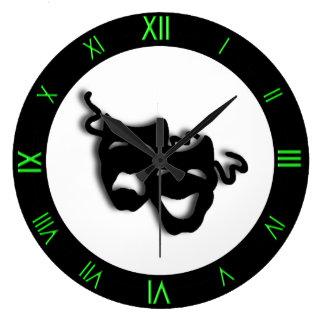 Reloj de pared verde fresco del teatro de la comed
