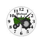 Reloj de pared verde personalizado del tractor