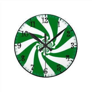 """""""Reloj de pared verde y blanco de la menta del inv"""