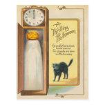 Reloj de pie del gato negro del fantasma de la lin postal