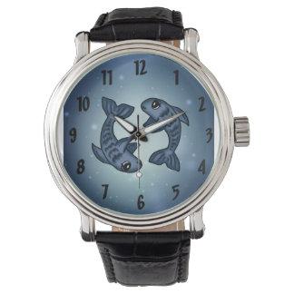 reloj de Piscis del zodiaco
