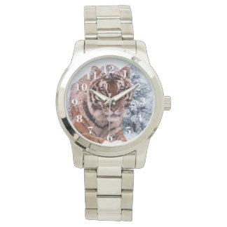 Reloj de plata de gran tamaño unisex de la pulsera