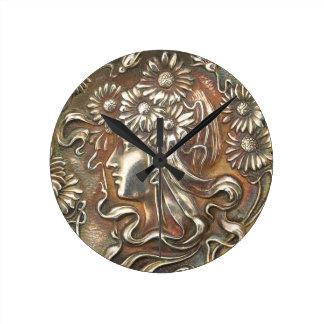 Reloj de plata virginal de Nouveau Repousse Acryll