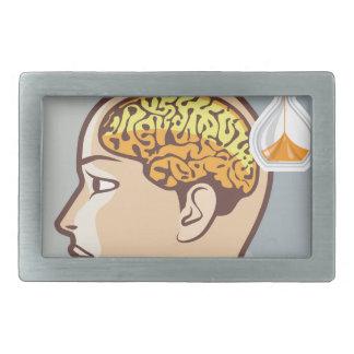 Reloj de proceso de pensamiento del cerebro y de hebillas cinturon rectangulares