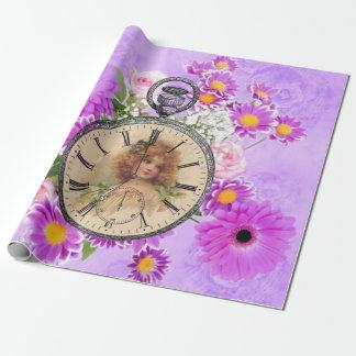 Reloj de reloj del chica del vintage Giftwrap Papel De Regalo