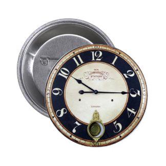 Reloj de reloj del vintage pin redondo de 2 pulgadas
