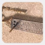 Reloj de sol, plata y oro portátiles, siglo X (d Pegatinas Cuadradas