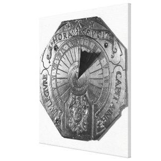 Reloj de sol portátil, del castillo 1756 de Sierk Impresión En Lienzo Estirada