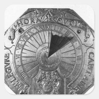Reloj de sol portátil, del castillo 1756 de Sierk Pegatina Cuadrada