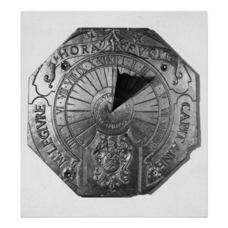 Reloj de sol portátil, del castillo 1756 de Sierk Póster
