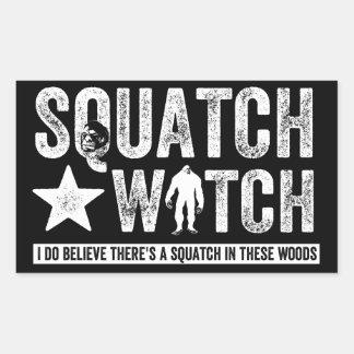 Reloj de Squatch (para la oscuridad) que creo Rectangular Pegatina