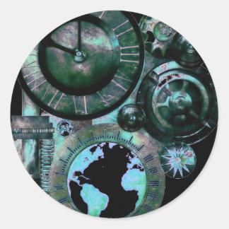 Reloj de Steampunk Pegatina Redonda