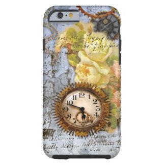 Reloj de Steampunk y rosas amarillos Funda De iPhone 6 Tough