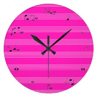 Reloj de tiempo de la música - rosa fuerte femenin