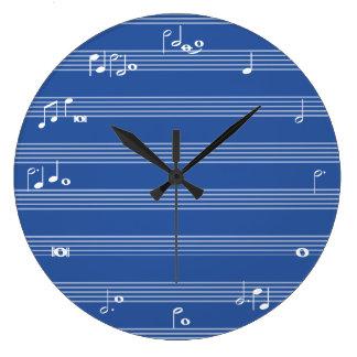 Reloj de tiempo de la nota de la música - azul y b